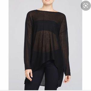 Eileen Fisher Black High Low Drop Shoulder Sweater
